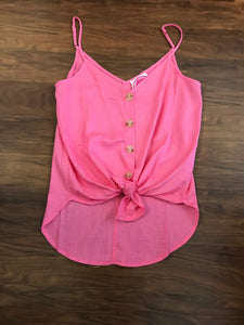Pink Linen Adjustable Tank
