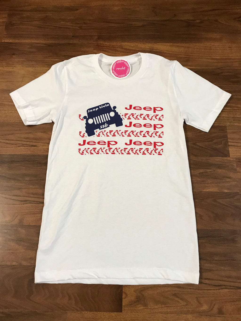 Red White Blue Jeep Tee