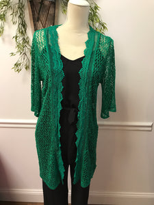 Green Crochet Trim Cardigan