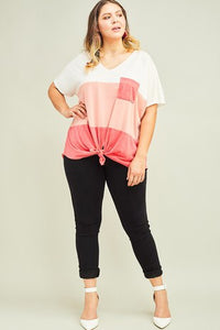 Plus Coral Color Block V-Neck Top