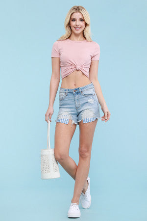Gingham Pocket Mid Rise Shorts