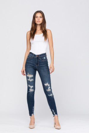 High Rise Cropped Skinny Distressed Ankle Detail Judy Blues