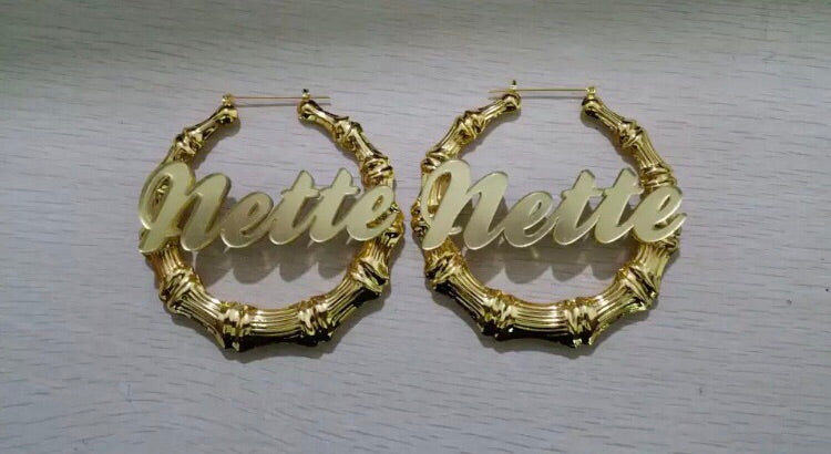 Bamboo Name Hoop Earrings