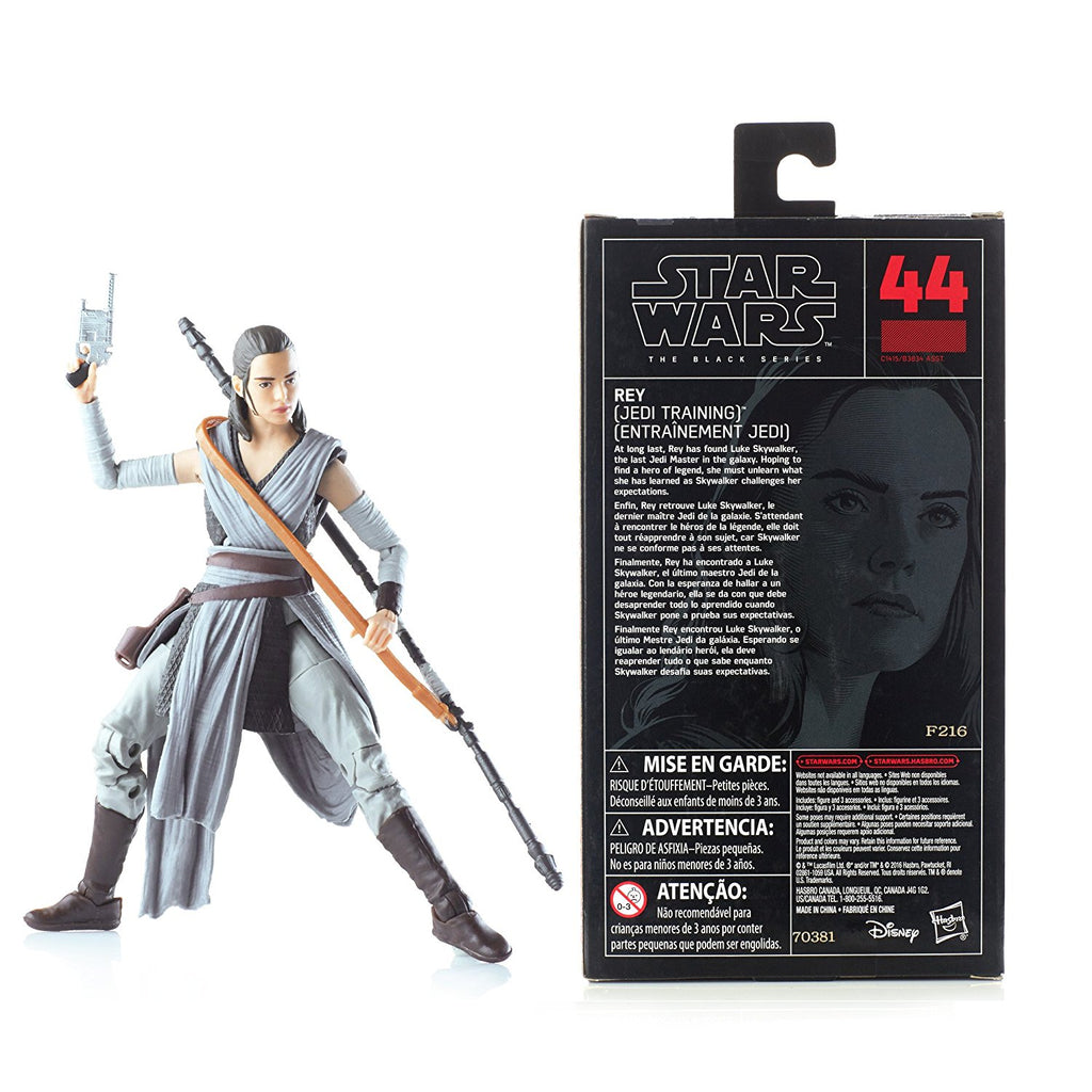 Star Wars The Black Episode 8 Series Rey (Jedi Training), 6-inch back of box