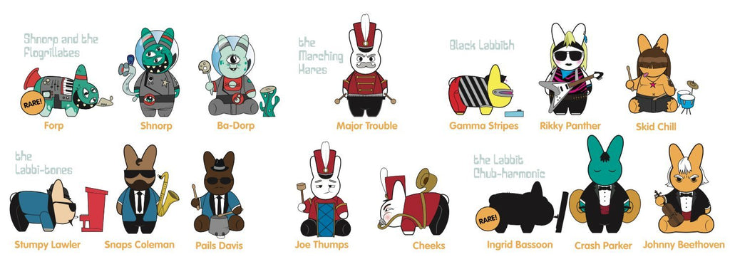 Kidrobot Labbit Band Camp Collectible Vinyl Mini Series Figure Blind Box checklist
