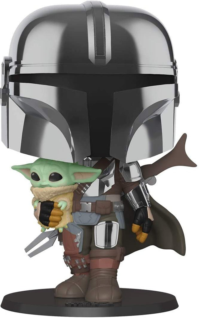 Funko POP! Star Wars: The Mandalorian 10 Inch Chrome Mandalorian with The Child Collectible Figure 889698499316