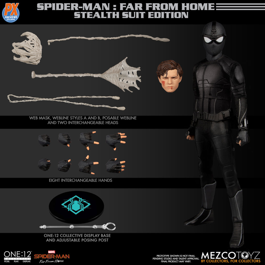 One-12 Collective PX Spider-Man Stealth Suit Action Figure 696198775563
