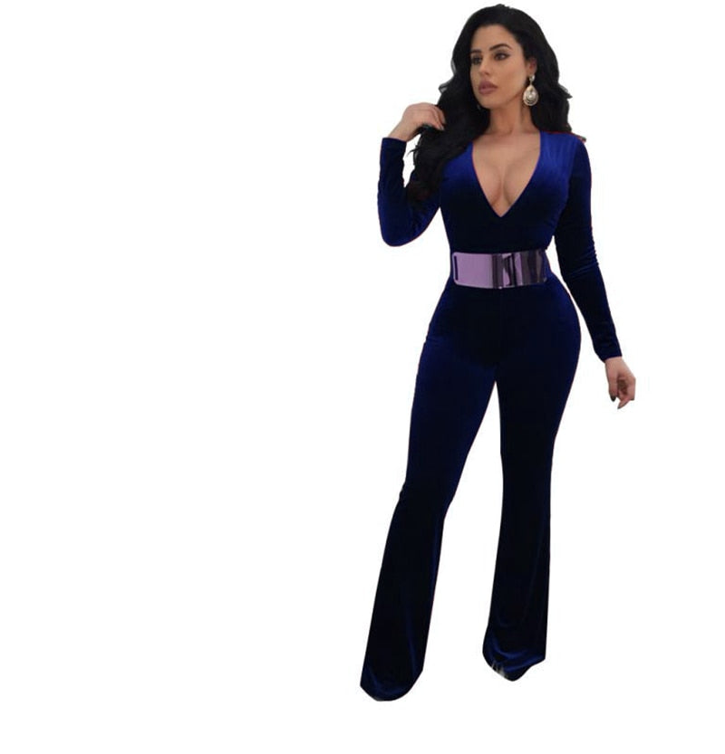 Cinched Snatched Velour Jumpsuit Casual Contempo