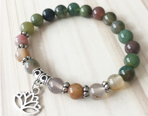 Collection Peace - Bracelet Agate indienne et Fleur de Lotus
