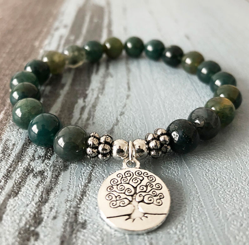 Collection Peace - Bracelet Agate mousse et Arbre de vie