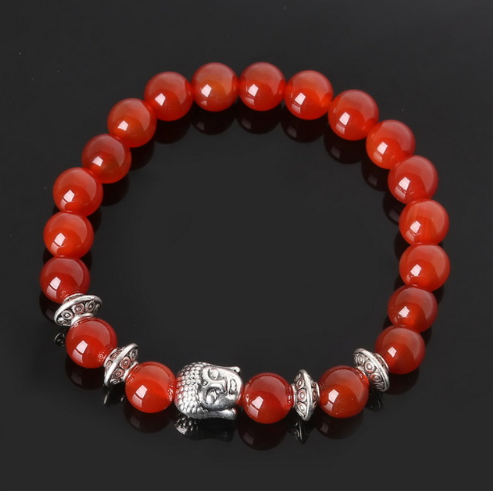 Nlle Collection Serenity - Bracelet Agate rouge et Bouddha