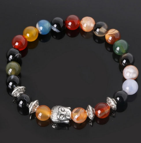 Collection Serenity - Bracelet pierres d'Agates et Bouddha