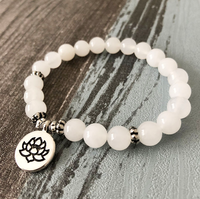 Collection Peace - Bracelet Jade blanc et Fleur de Lotus