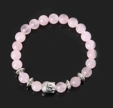 Collection Serenity - Bracelet Quartz rose et Bouddha