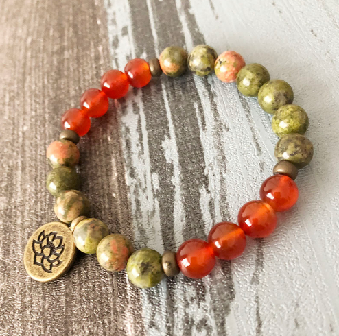 Collection Peace - Bracelet Unakite, Cornaline et Fleur de Lotus