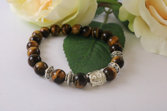 Collection Serenity - Bracelet Œil de tigre et Bouddha