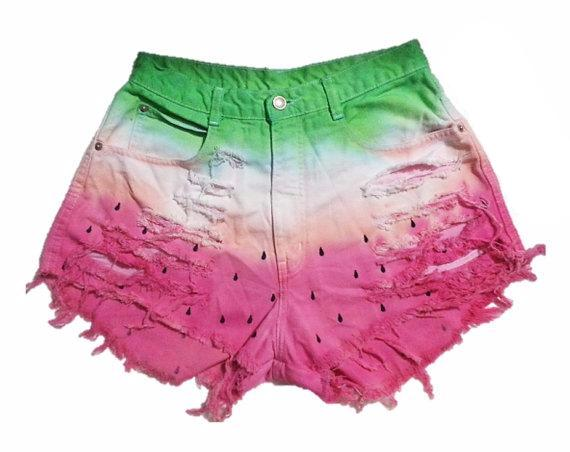 Watermelon Dyed High Waisted Hipster Festival Fringed Denim Shorts