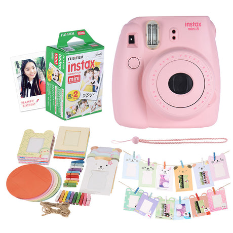 Fujifilm Instax Mini 8 Camera Set - Film + Photo Frame + Clip + Hanging Strap