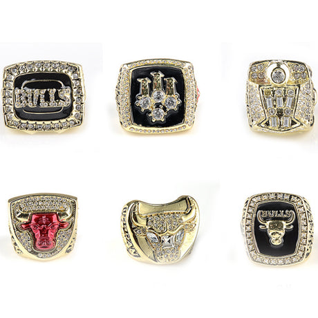 CHICAGO BULLS WORLD CHAMPIONSHIP RINGS, 6 PCS RING SET COLLECTION WITH WOODEN BOX 1991 1992 1993 1996 1997 1998