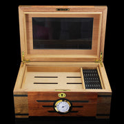 COHIBA Wooden Cedar Lined Glass Cigar Humidor With Lock Hygrometer Humidifier