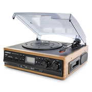 LoopTone USB Turntable Vinyl Record Player W/ Remote Control + 2 Built-in Speakers + AM/FM Radio Cassette LP Recording