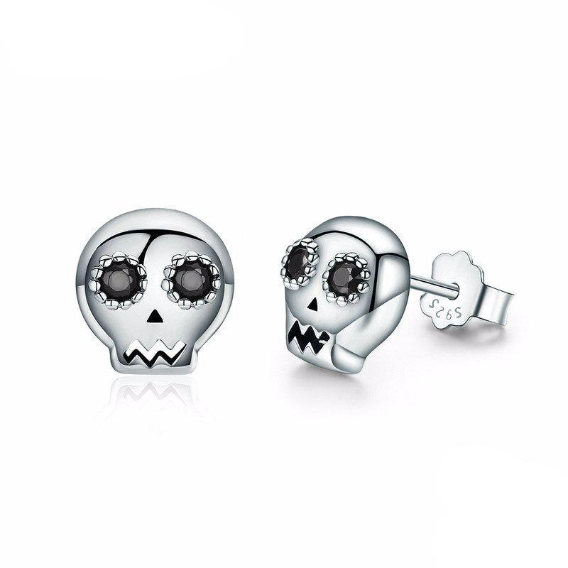 Sterling Silver Skull Stud Earrings (say that 5 x's fast)