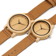 His & Hers Sustainable Bamboo Watch with Leather Band