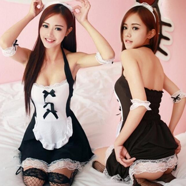 Women's French Apron Maid Costume Lingerie
