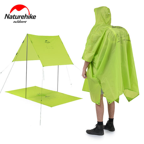 3 in 1 Multi-functional Waterproof Nylon Jacket Poncho, Travel Awning, & Floor Mat
