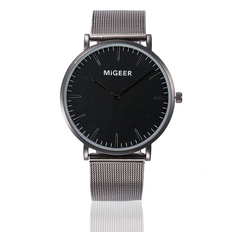 Classic Men's & Women's Steel Strap Wrist Watch - Silver and Black