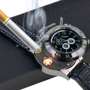 Wristwatch with USB Rechargeable Electric Windproof Cigarette Lighter