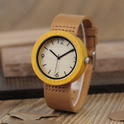 Women's Bamboo Watch with Brown Leather Strap