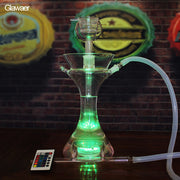 Glass Hookah w/Clear Bowl & Silicone Hose + LED Color Changing Light