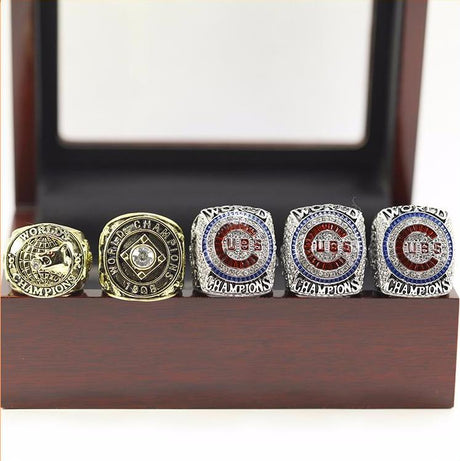 CHICAGO CUBS BASEBALL WORLD SERIES CHAMPIONSHIP RINGS, 5PC RINGS AS A SET WITH WOODEN BOX 1907 1908 2016 2016 2016