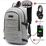 Anti Theft Waterproof Laptop Backpack w/USB Charging