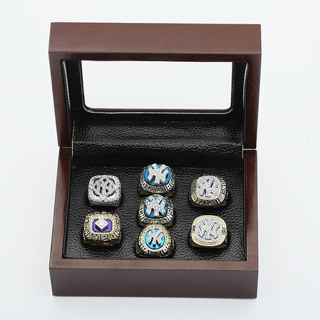 YANKEES WORLD SERIES CHAMPIONSHIP RING, 7 PCS RING SET COLLECTION WITH WOODEN BOX 1977 1978 1996 1998 1999 2000 2009