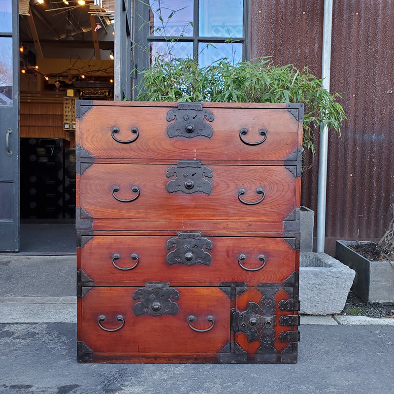 antique Japanese kiri wood kimono chest, 2 sections. (H4)