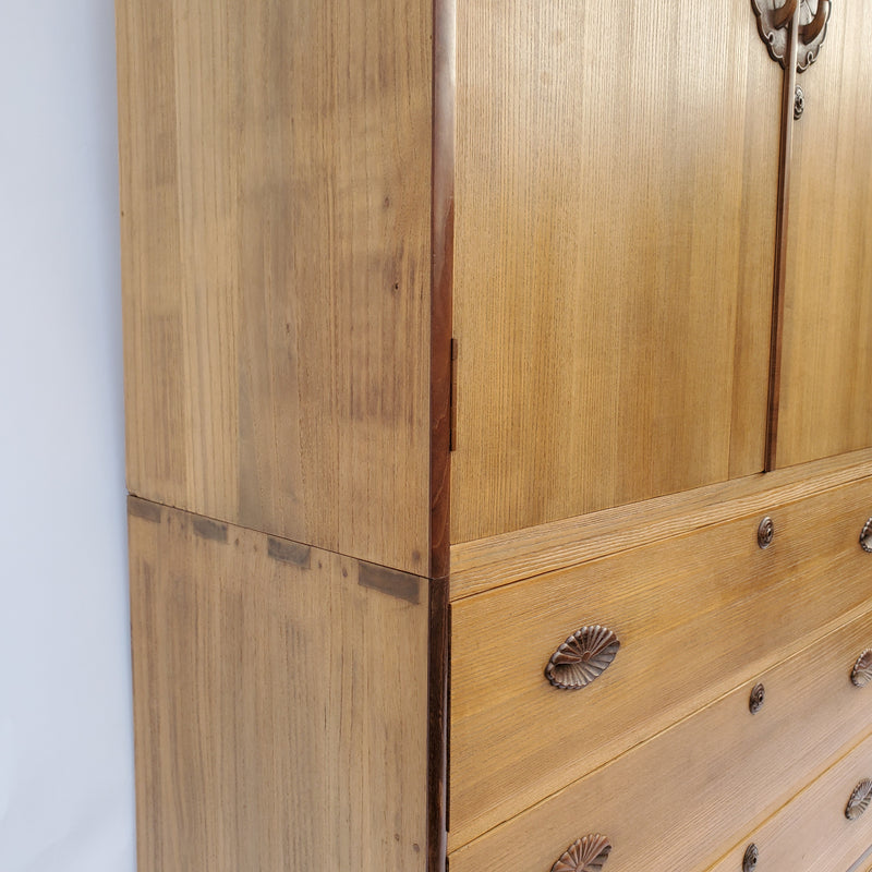 antique Japanese kiri wood kimono chest, 2 sections. (A106)