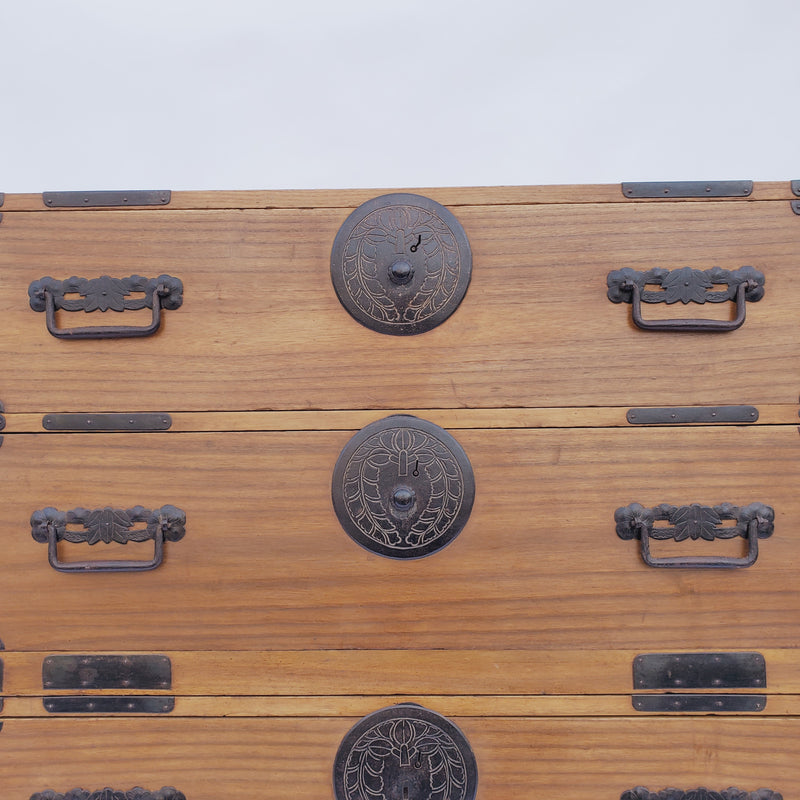 antique Japanese kiri wood kimono chest, 2 sections. (B8)