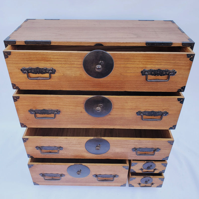 antique Japanese kiri wood kimono chest, 2 sections. (B300)
