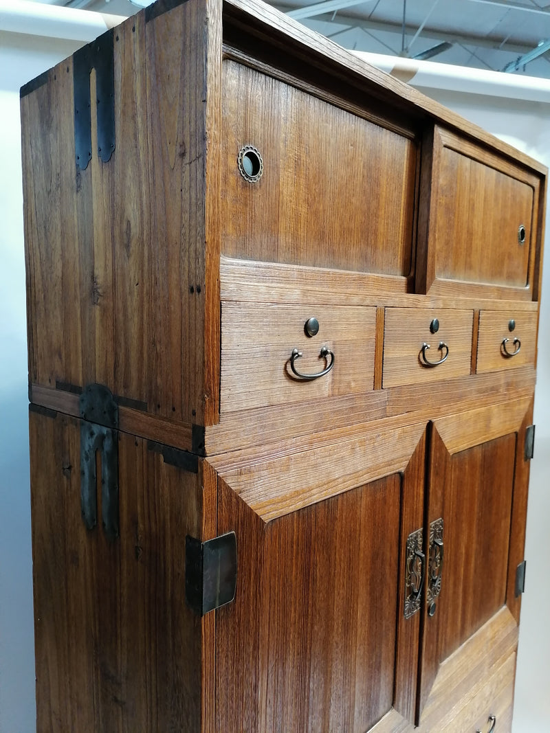 antique Japanese kiri wood kimono chest, 3 sections. (A103)