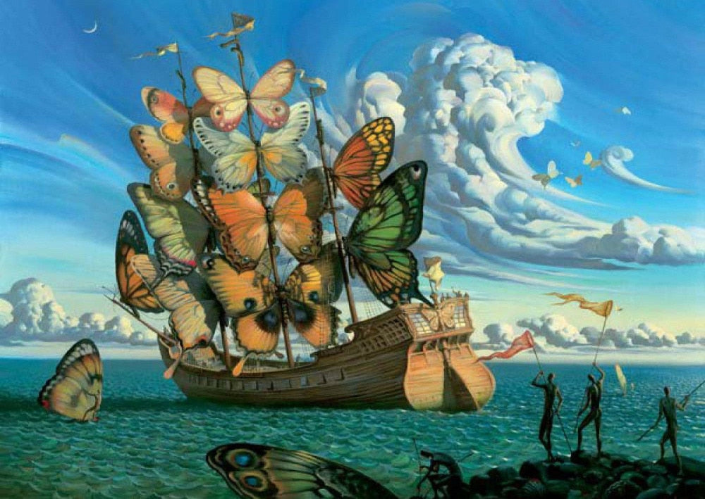 Salvador Dali Ship with Butterfly Sails Art Wall Decor Silk Print Poster