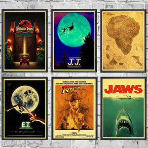 E.T. /JAWS/The Termina/Jurassic Park Spielberg Movie Posters Retro Wall Posters Art Printed Painting Wall Stickers