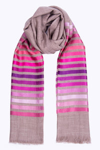 Ruby Stripe Wool Silk Scarf