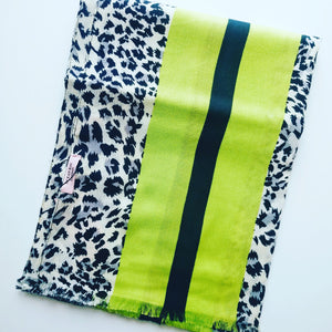 Leopard Scarf - Navy Print with Lime Stripes