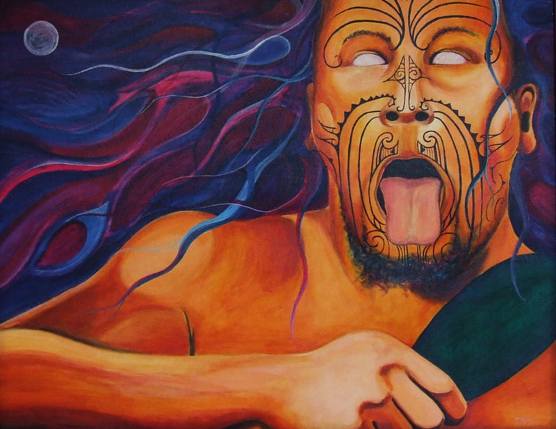 Painting of a Maori warrior doing a pukana holding a greenstone patu.