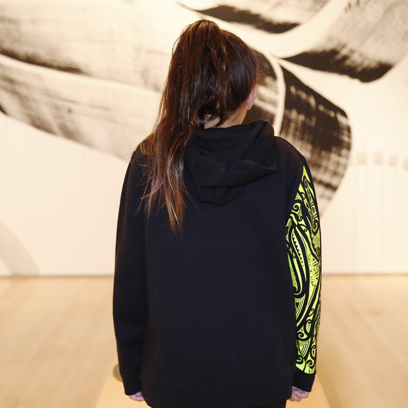 Kids black hoodie with fluro yellow maori design