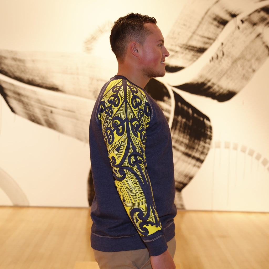 Lemon Yellow ta moko design on 2 tone denim jersey.