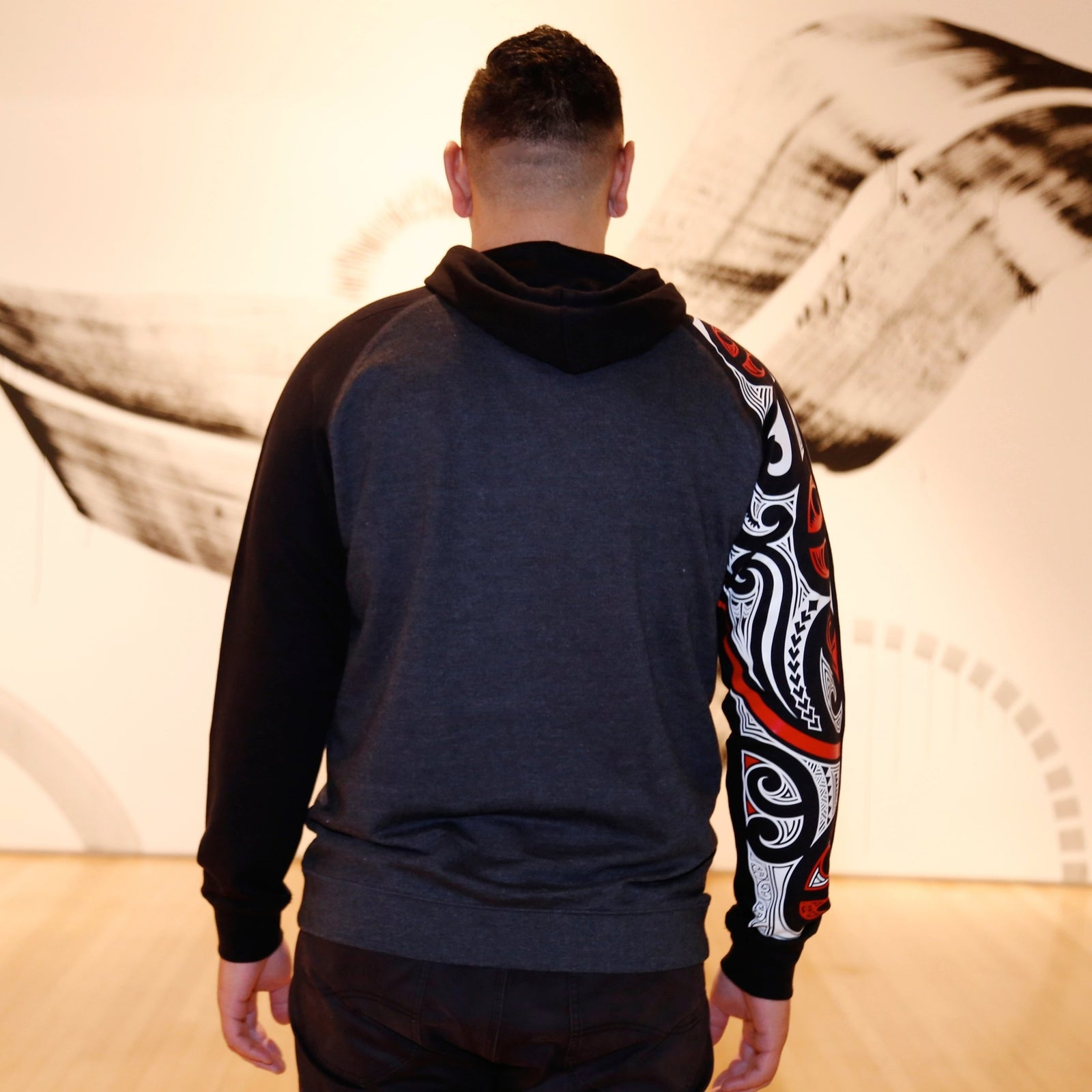 Red and white ta moko maori design on case hoodie, New Zealand clothing