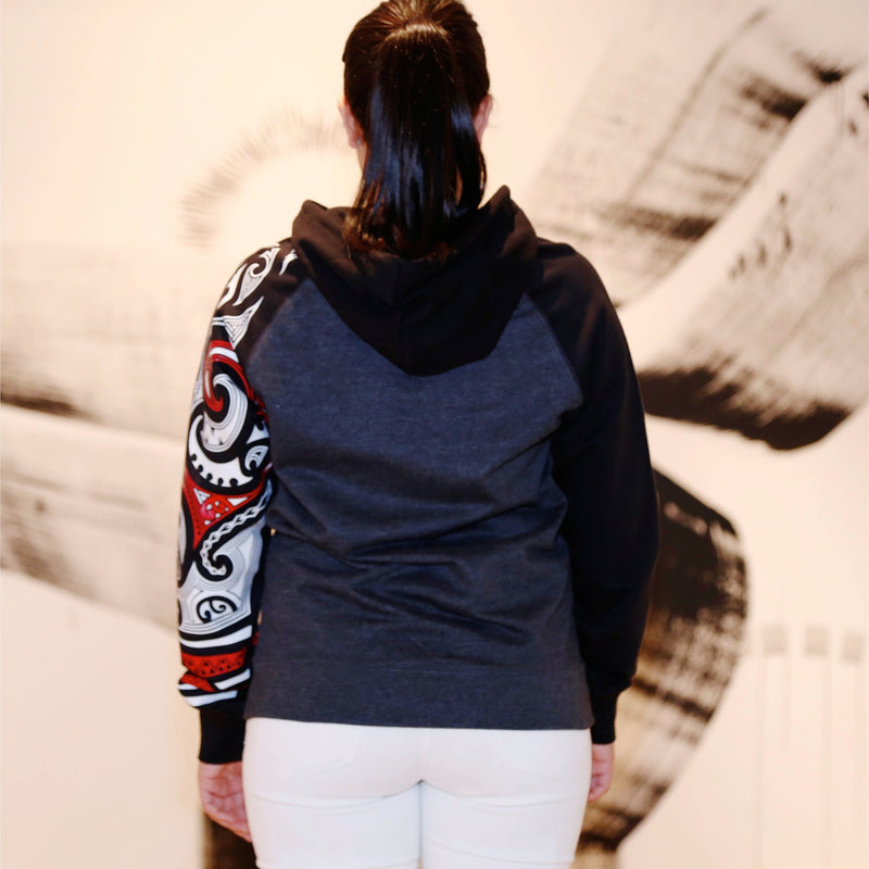 Red and white ta moko maori design on case hoodie